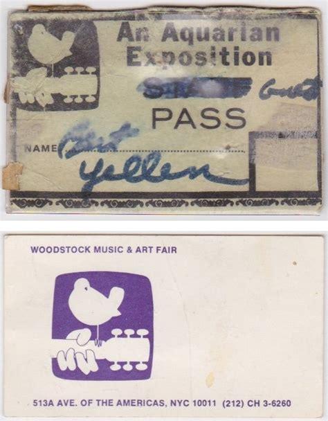 woodstock festival original backstage pass  business card