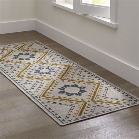 cb2 runner rug bessie dove wool dhurrie rug runner crate and barrel