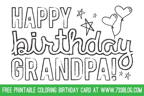 grandfather birthday card template printable coloring birthday cards