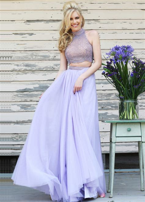 Lila Top Teal White two high halter neck beaded flowing lilac prom dress
