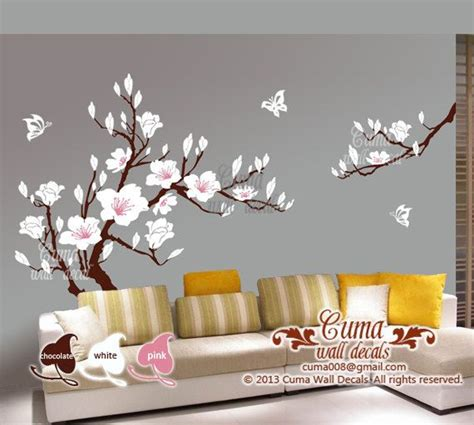 white flower wall stickers white flower wall decal s cherry blossom vinyl wall decals by cuma baby rooms