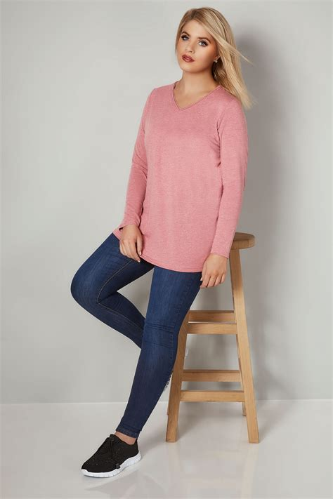 30769 Gray White Two Side pink marl sleeved v neck jersey top plus size 16 to 36