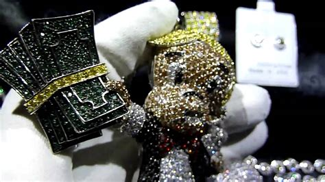 CUSTOM Lab Made Diamond RICHIE RICH Pendant Cluster Chain