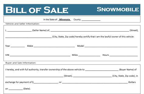 minnesota snowmobile bill  sale template  road freedom