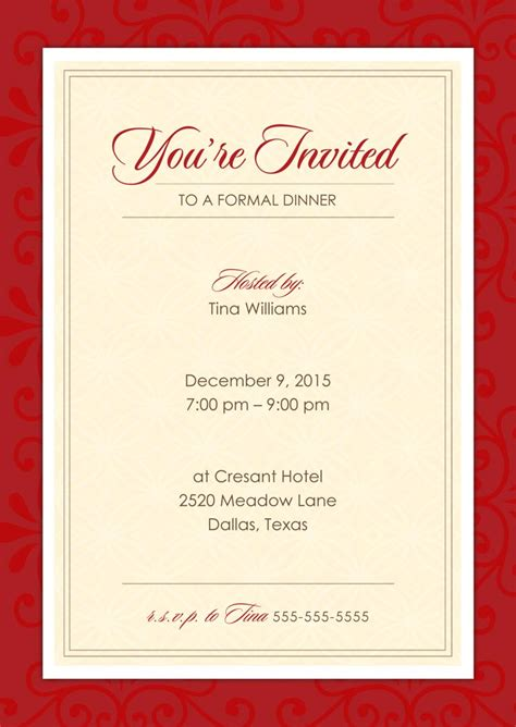 formal invitation cards templates free formal dinner invitations from