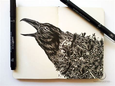 doodle pens beautifully detailed pen doodles by artist kerby rosanes