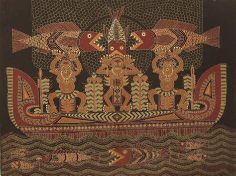 Wallpaper Batik Papua | modern batik painting depicting a papua boat the colors
