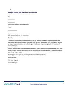 proper thank you letter for promotion letter format writing