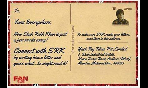 fan address shah rukh khan invites fans to write letter to him here s