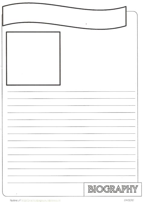 page template new biography notebook page templates practical pages