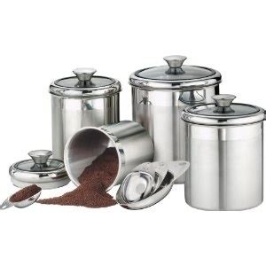 stainless steel canister set kitchen