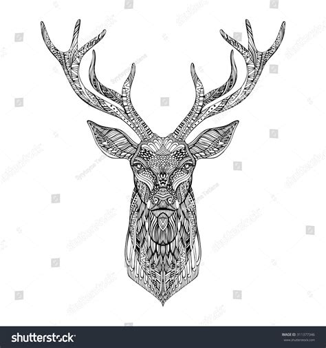 stylized tattoo designs deer stylized zentangle style tribal stock vector