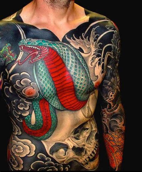 skull tattoo full body 42 japanese snake tattoos collection