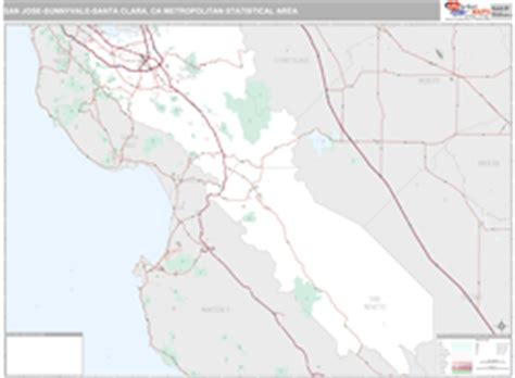 san jose msa map san jose ca metro area wall map premium style by marketmaps