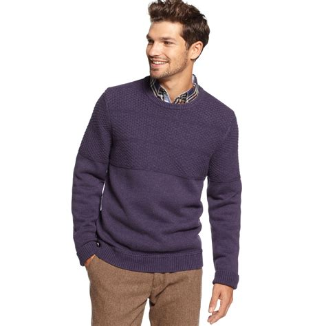 Hilfiger Crewneck hilfiger grayson sleeve crewneck sweater in purple for blackberry lyst