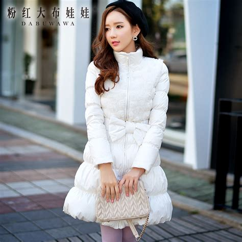 Korea Fashion 2016 dabuwawa 2016 korean winter fashion slim white duck garment pink doll in parkas from