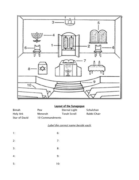 layout worksheet 7 best images of worksheets of a synagogue jewish