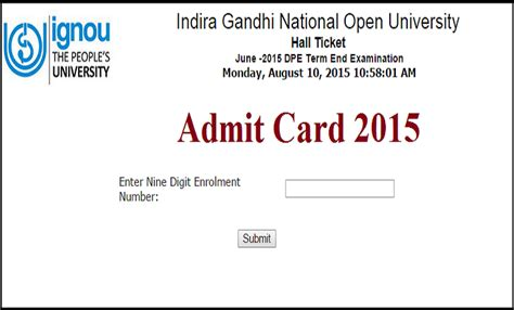 Indira Gandhi Open Distance Education Mba by Ignou Term End Ticket 2015 Indira