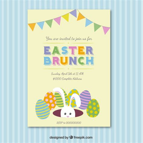 easter invitation template easter brunch invitation card vector free