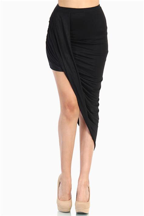 Two Side Draped Skirt overlapped draped skirt black