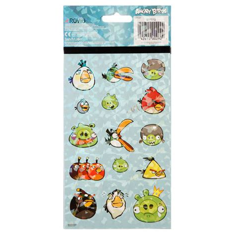 Foil None angry birds foil non foil stickers 4 sheets