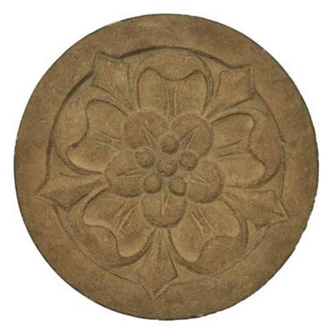 decorative stepping stones home depot mpg 12 in round cast stone small floral stepping stone