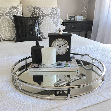 Stunning Round Silver Tray With Mirror Handles Coffee Silver Tray Coffee Table