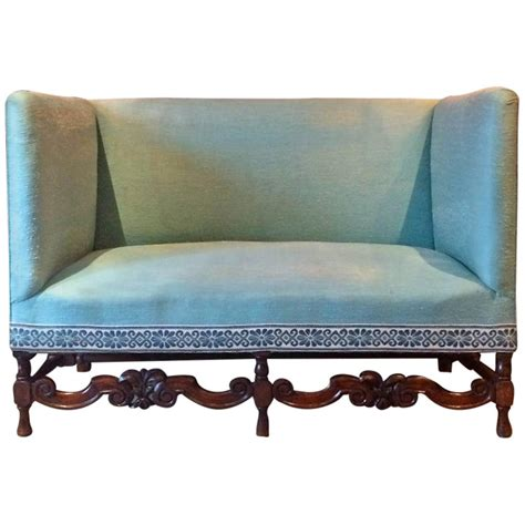 high backed settee antique sofa shabby chic queen anne style victorian high
