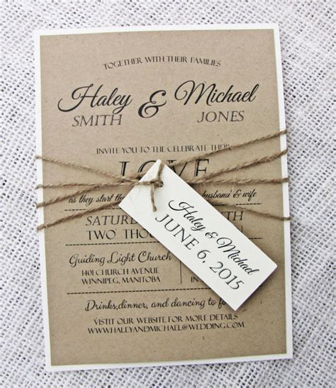 Handmade Wedding Invitations Rustic - rustic wedding invitation diy printable modern wedding