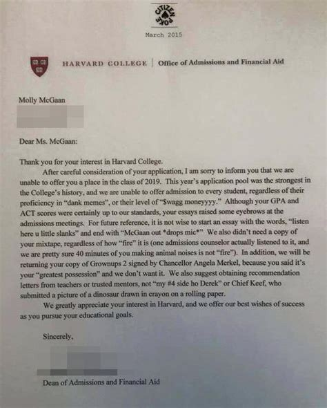Reject A College Acceptance Letter Wag Moneyyyy Harvard College Rejection Letter Is Blowing Up The Metro News