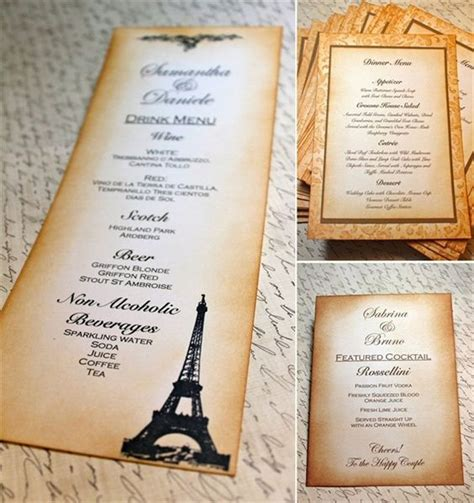 Menu Handmade - wedding menu cards by creations via
