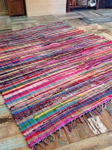 fair trade indian large vintage shabby chic multi coloured rag rug 150cm x 210cm carpets home