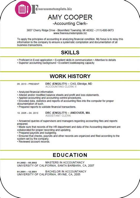 Resume Templates Accounting Clerk Accounting Clerk Resume Template Free Resume Templates