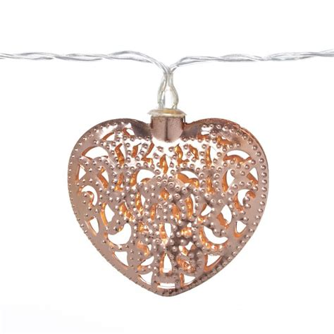 set of 3 copper and gold light up holiday presents parlane copper garland heart lights rose gold homeware