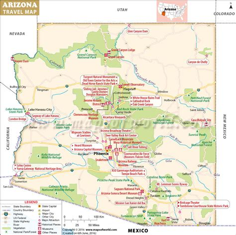 map arizona usa maps update 598499 tourist attractions map in
