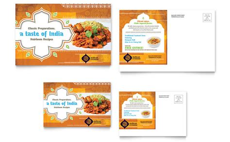 indian menu templates indian restaurant postcard template design