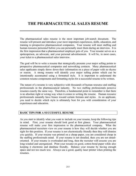 Pharmaceutical Sales Resume