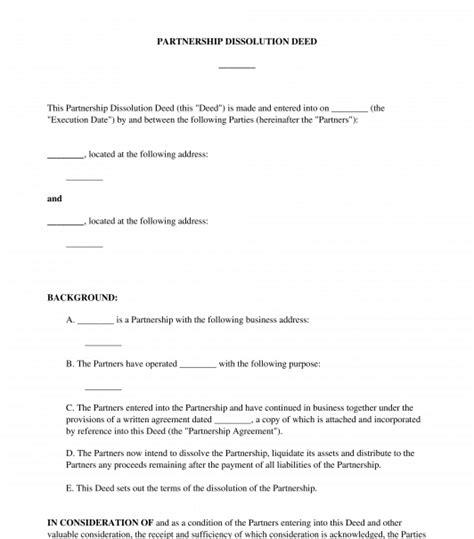 deed partnership dissolution sample template
