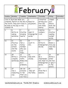 Kindergarten Homework Calendar Ideas