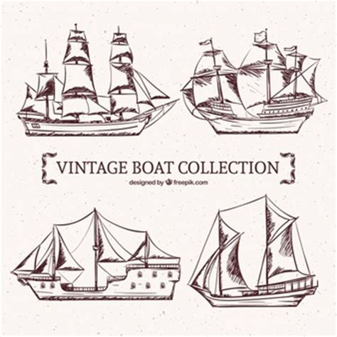old boat vector hand drawn old ships vector free download