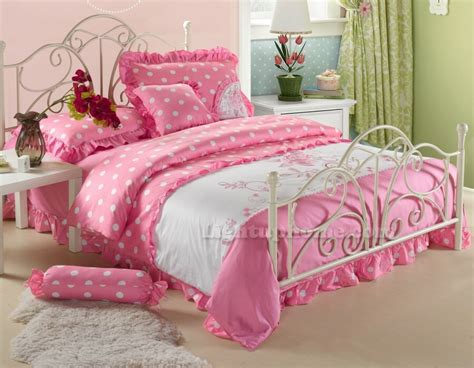 White And Pink Polka Dot Girls Princess Lace Ruffled Pink And White Bedding