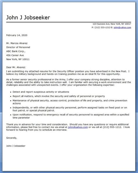 Security Cover Letter Sles security officer cover letter career