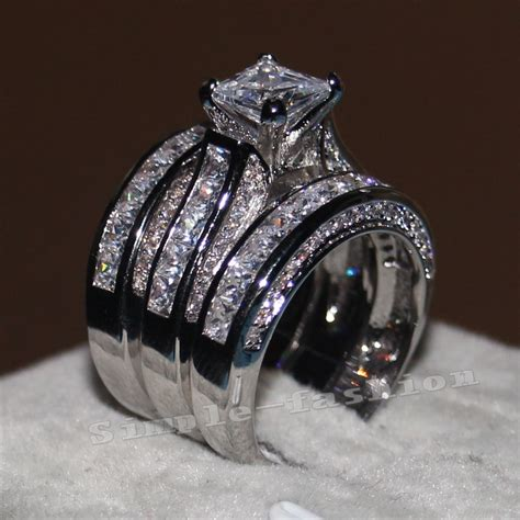 3 In 1 Rings princess cut 10ct diamonique cz white gold filled 3 wedding band ring set ebay