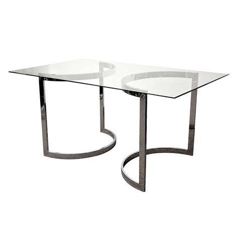 milo baughman chrome and glass dining table for sale at