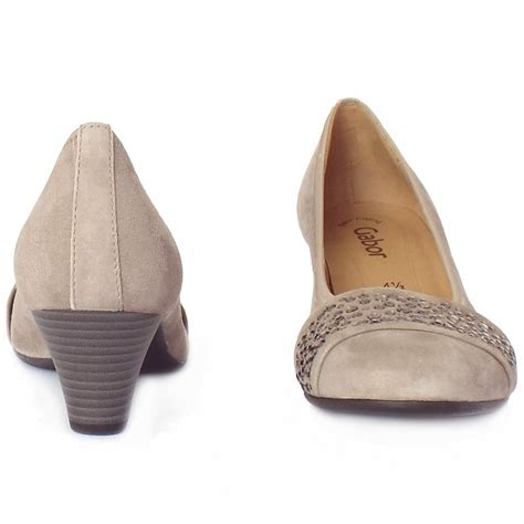 beige shoes gabor wallace beige suede dressy mid heel court shoes