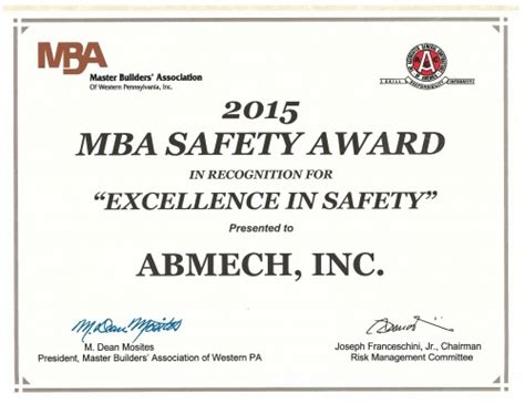 For Mba Safety Management by Awards Events Abmech