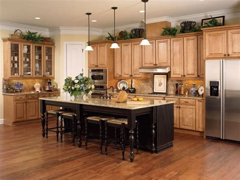 maple honey chocolate kitchen cabinets with miland island from wellborn forest