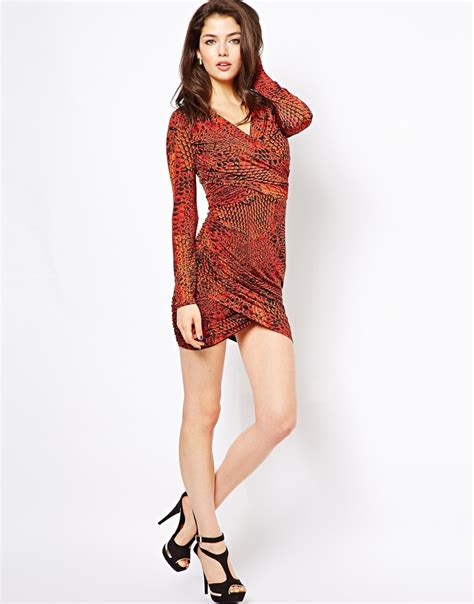 house of dereon dresses house of dereon printed wrap dress in red lyst