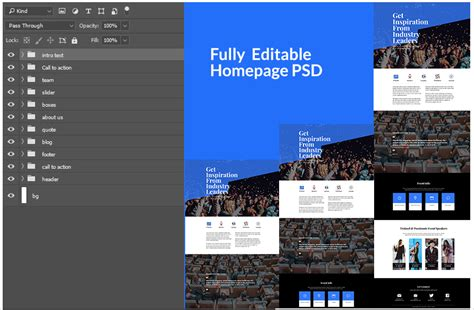 layout view events divi layout psd for an event company
