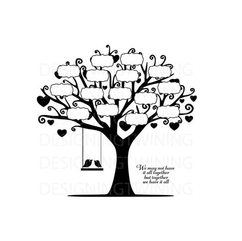 Family Wall Stickers Quotes family tree svg png pdf dxf digital file family tree file
